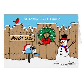 Cartão de Natal do acampamento do nudista