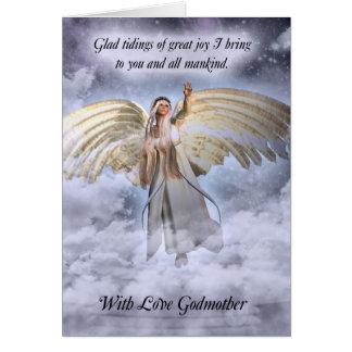 Cartão de Natal do anjo da madrinha religioso