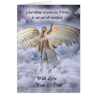Cartão de Natal do anjo da mamã & do pai religioso