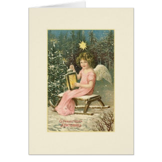 Cartão de Natal do anjo do russo do vintage