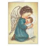 Cartão de Natal do anjo do vintage e do Jesus do b