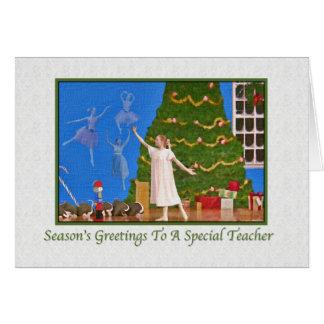 Cartão de Natal do balé do Nutcracker para o profe
