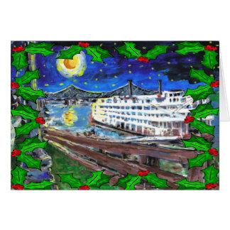 Cartão de Natal do barco de rio