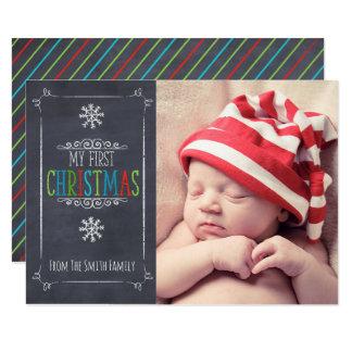 Cartão de Natal do bebê da foto do quadro primeiro