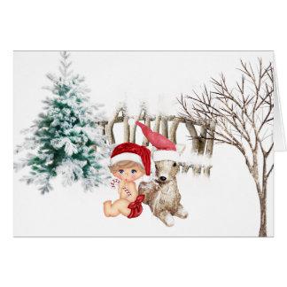 Cartão de Natal do bebê primeiro