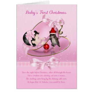 Cartão de Natal do bebé primeiro