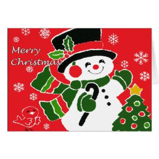 Cartão de Natal do boneco de neve do vintage