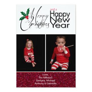 Cartão de Natal do brilho da foto do Feliz Natal Convite Personalizados