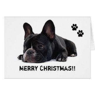 Cartão de Natal do buldogue francês