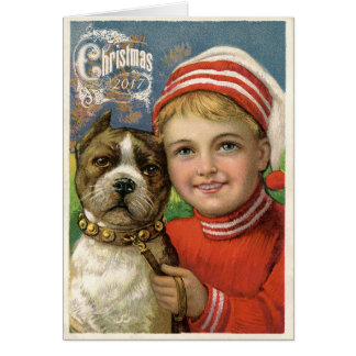 Cartão de Natal do cão do menino & do pitbull do