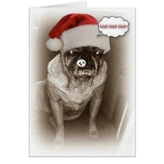 Cartão de Natal do cão do Pug