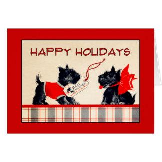 Cartão Cartão de Natal do cão do Scottie boas festas