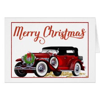 Cartão de Natal do carro antigo