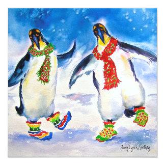 Cartão de Natal do casal do pinguim
