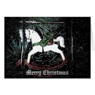 Cartão de Natal do cavalo de balanço
