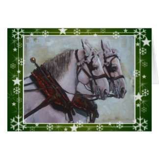 Cartão de Natal do cavalo de esboço de Percheron,