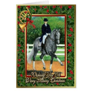 Cartão de Natal do cavalo do adestramento de