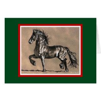Cartão de Natal do cavalo do frisão