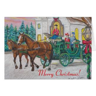 Cartão de Natal do cavalo e da carruagem