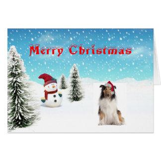 Cartão de Natal do Collie