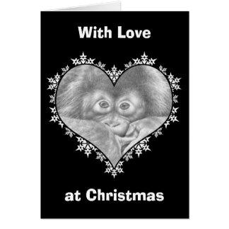 Cartão de Natal do coração do floco de neve do