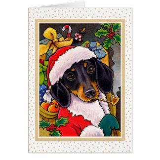 Cartão de Natal do Dachshund do cão do papai noel