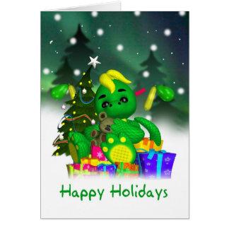 Cartão de Natal do dragão - dragão verde bonito