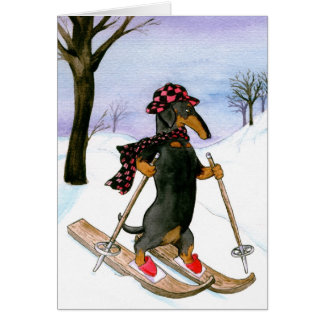 Cartão de Natal do esqui do Dachshund