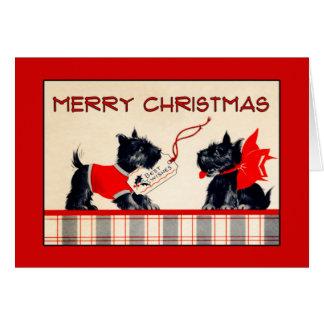 Cartão Cartão de Natal do Feliz Natal do cão do Scottie
