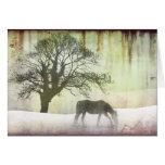 Cartão de Natal do feriado do cavalo da neve