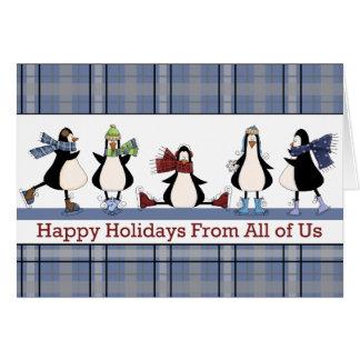 Cartão de Natal do feriado do grupo do patinagem