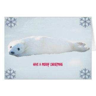 Cartão de Natal do filhote de cachorro de selo