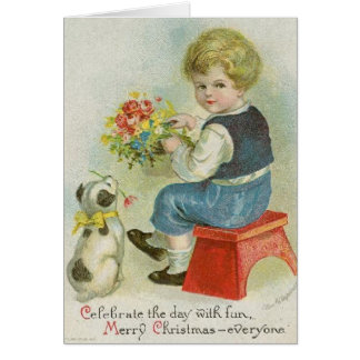 Cartão de Natal do filhote de cachorro do menino