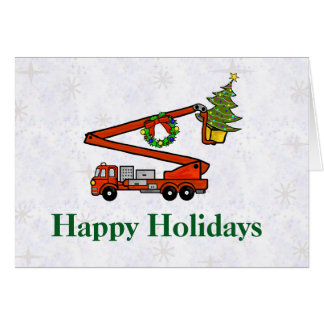 Cartão de Natal do Firetruck do balde