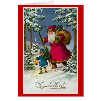 """Cartão De """"Natal do francês do vintage Joyeux Noel"""""""