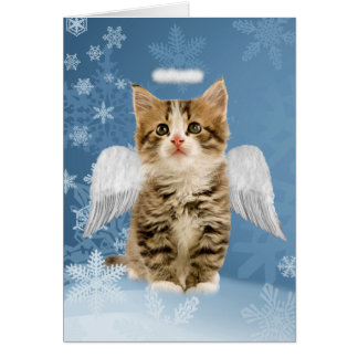 Cartão de Natal do gatinho do anjo