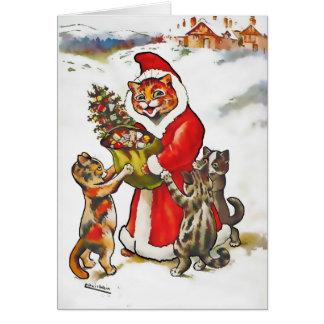 Cartão de Natal do gatinho do gato das garras do