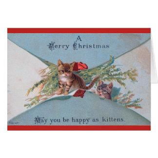 Cartão de Natal do gatinho do Victorian