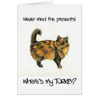 Cartão de Natal do gato de gato malhado de Brown