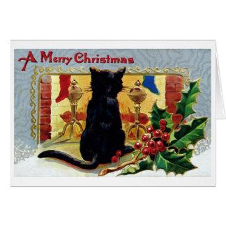 Cartão de Natal do gato do vintage
