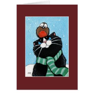 Cartão de Natal do gato e do pisco de peito vermel