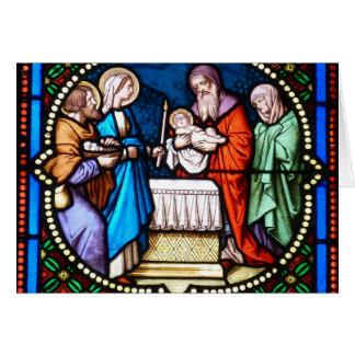 Cartão de Natal do Jesus Cristo do vitral da