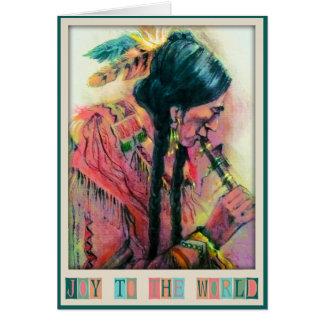 Cartão de Natal do jogador de flauta do nativo