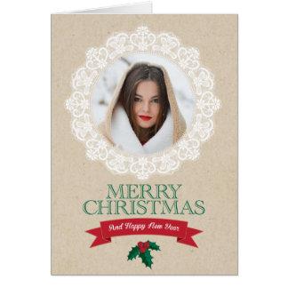 Cartão de Natal do laço da foto do país