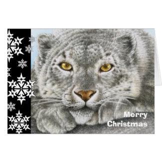 Cartão de Natal do leopardo de neve
