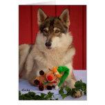 Cartão de Natal do lobo