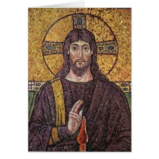 Cartão de Natal do mosaico do cristo