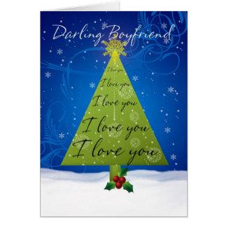 Cartão de Natal do namorado com árvore do feriado