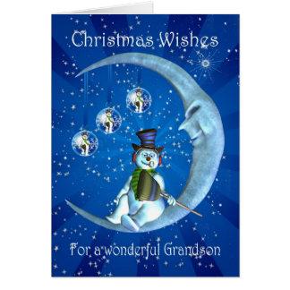 cartão de Natal do neto com boneco de neve