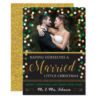 Cartão de Natal do Newlywed com foto | casado